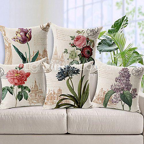 set of 5 maan tyyliin kukkia kuvioitu puuvilla / pellava koriste tyyny - EUR €42.62 ! KUUMA tuote! Kuuma tuote nyt alessa uskomattoman edulliseen hintaan! Tutustu siihen ja moniin muihin vastaaviin tuotteisiin. Saa alennuksia, palkkioita ja paljon muuta joka kerta, kun shoppailet kanssamme!