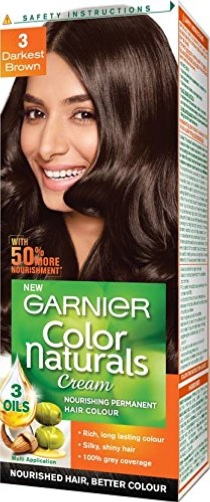 Garnier New Color Naturals Hair Color (Darkest Brown 3) packing may ...
