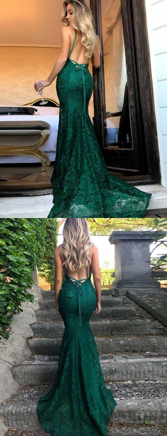 V Neck Dark Green Lace Prom Dress