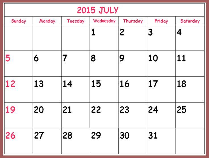 monthly blank calendar 2015