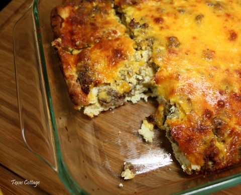Breakfast Casserole    1 pound package breakfast sausage  6 slices bread  2 cups shredded cheddar cheese   6 large eggs  1  pint half and half  1 teaspoon ground mustard  1 teaspoon salt  1/2 teaspoon black pepper    Preheat oven to 350 degrees F. Crumble sausage in skillet and brown over medium-high heat.  Spray 9 x 13 inch baking dish with cooking spray. Butter both sides of bread and place in bottom of pan. Sprinkle the cooked sausage and cheese over the bread. Beat together eggs, half and...