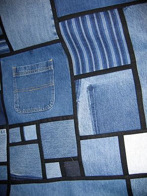 "Because each piece of denim is bordered with a 1"" strip of black Kona cotton, you don't get the bulky seams of denim against denim."