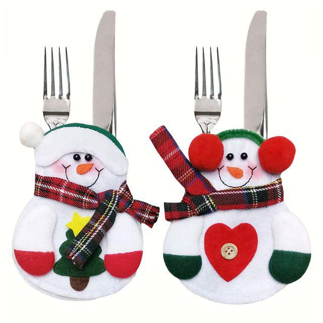 12pcs Xmas Decor Lovely Snowman Kitchen Tableware Holder Pocket Dinner Cutlery…