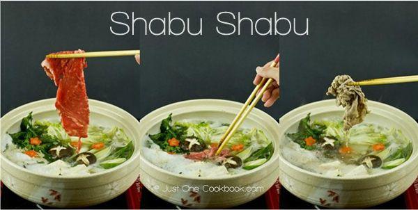 Hot pot with thinly sliced beef or pork dipped in citrus ponzu sauce, enjoy with napa cabbage, shungiku, enoki mushrooms in kombu (seaweed) broth.