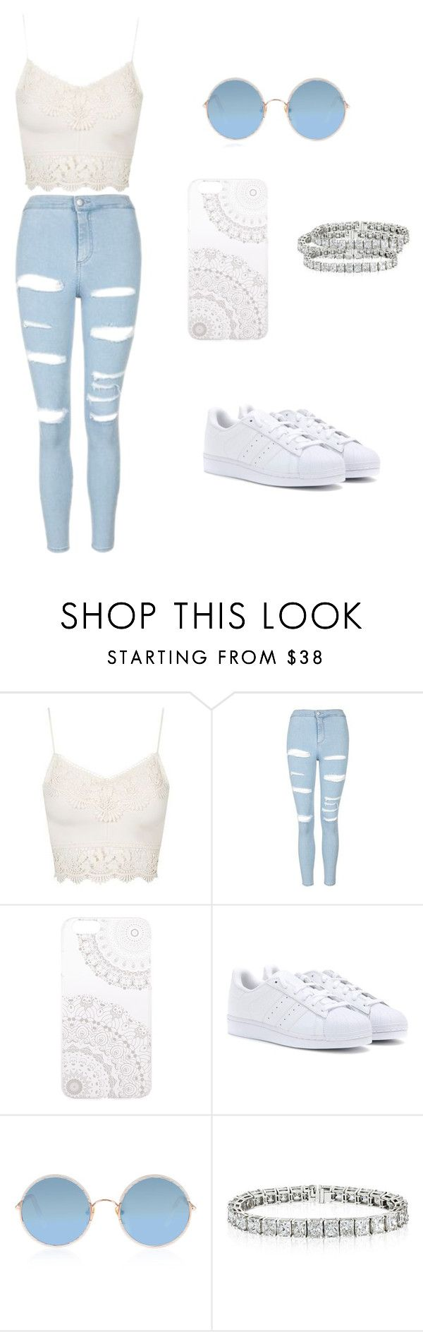"""Sem título #12"" by nicmd ❤ liked on Polyvore featuring Topshop, Monika Strigel, adidas and Sunday Somewhere"