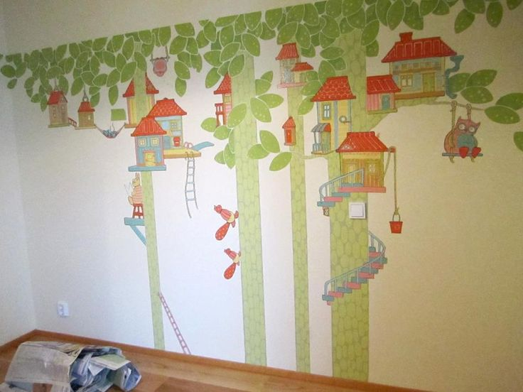 Fairy tale forest wall painting at a friend couple's nursery.