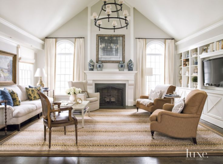 Contemporary Cream Family Room With Vaulted Ceiling Luxe