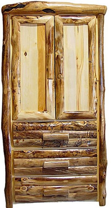 Aspen Log Armoire With 3 Drawers And 2 Doors   Log Front · Log  FurnitureRustic WoodAspenCabinetsColoradoDrawersLogs