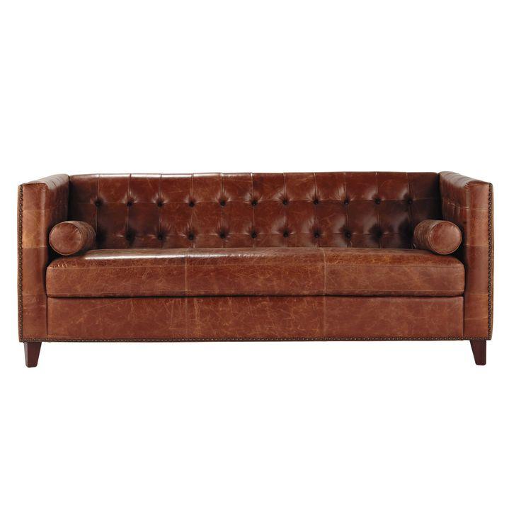 Sofá capitoné vintage de 3 plazas de cuero marrón Garrett