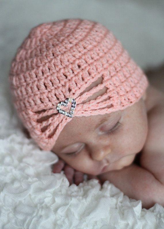 Baby Girls Newborn Hat-Newborn Hospital Hat-Baby Girls Crochet Heart Bonnet-New Baby Gift on Etsy, $14.95