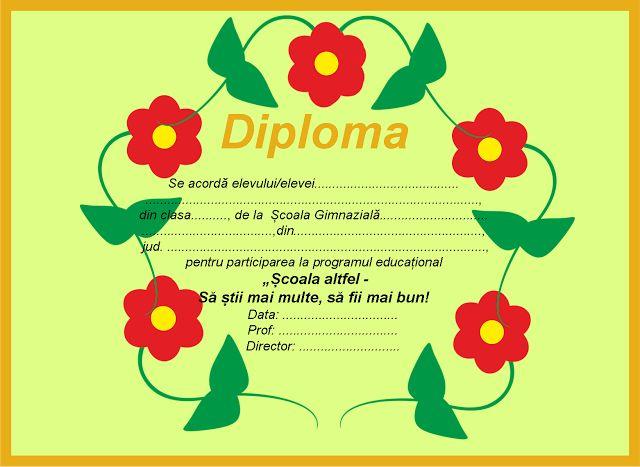 """Diplome pentru """"Școala altfel"""""""