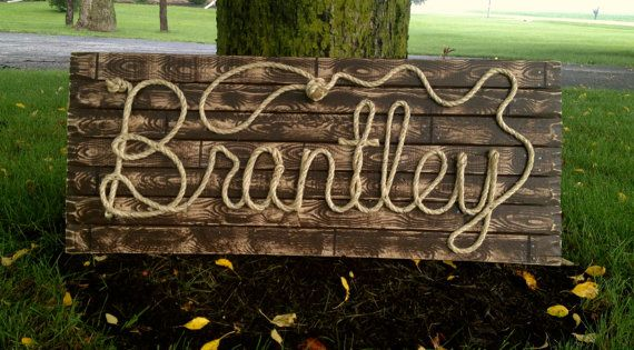 BRANTLEY 42 Rope Name Sign Western Country Cowboy by RopeAndStyle western room boy.