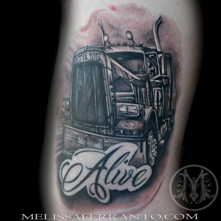 Tattoos By Melissa Ferranto : Tattoos : Realistic : Semi Truck Tattoo