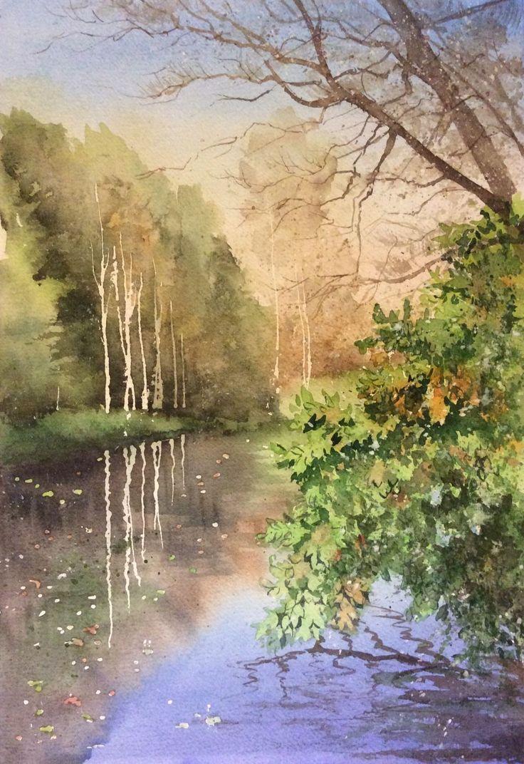 Купить Осенний пейзаж с водой - акварель, акварельная картина, пейзаж, пейзаж с водой, пейзаж акварелью