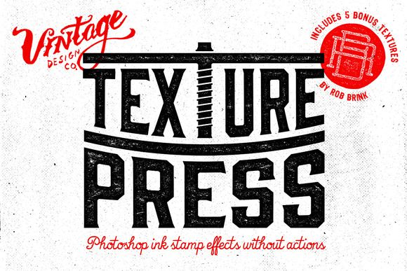 TexturePress - Ink Stamp Effects by Vintage Design Co. on Creative Market