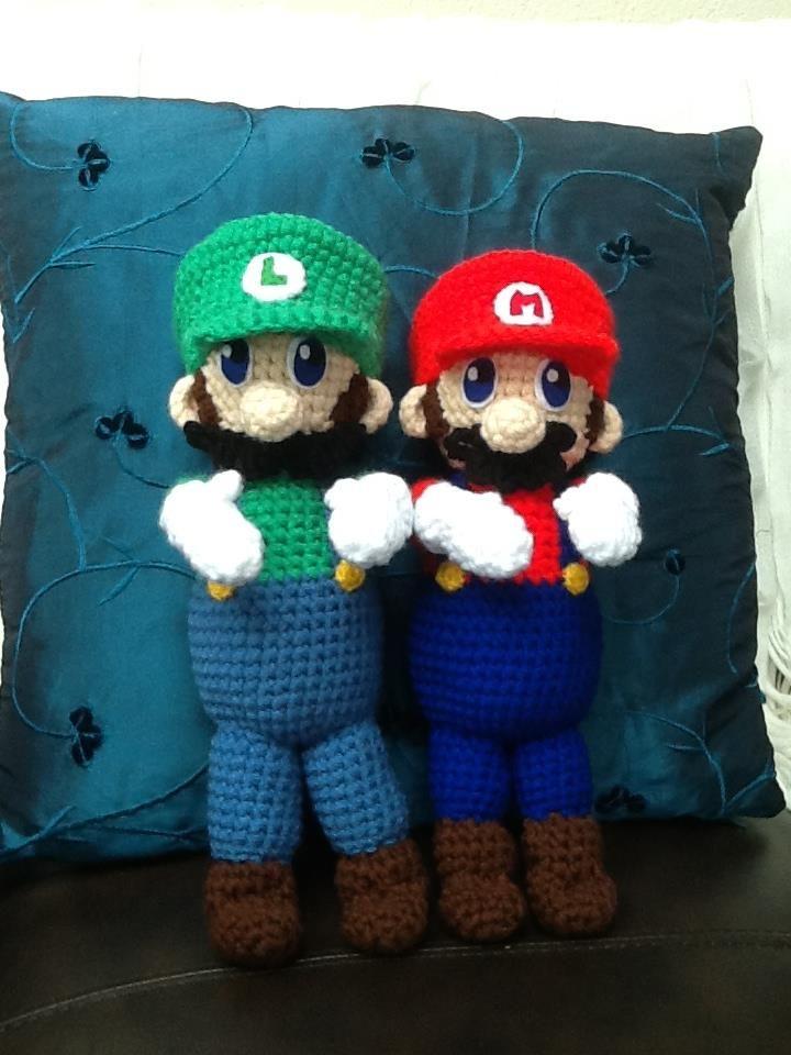 Mario and Luigi Dolls. Buy them here - https://www.facebook.com/CBKnits