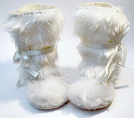Perfect for Winter- Snow White Faux Fur Baby Boots Mukluk Style. Baby First Shoes Baptism Baby Shoes Boots Wedding Baby Christening. $32.95, via Etsy.