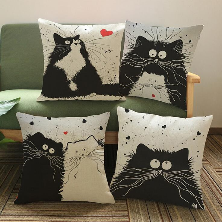 Home Decorative Pillow Cases Cartoon Black White Cats Printed Throw Pillow Cases Household Textile Supplies YLL753