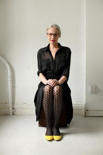 Dotted blouse, patterned tights (and gray hair!): Gray Hair, Jackie O' Shaughnessi, Apparel Newest, American Apparel, Style, Design Clothing, Fashion Design, Newest Models, Fashion Stores