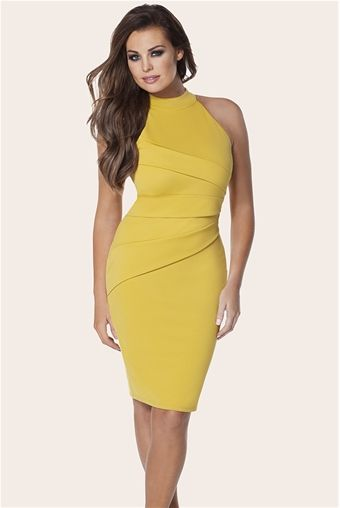 JESSICA WRIGHT SIA MUSTARD HALTERNECK DRESS