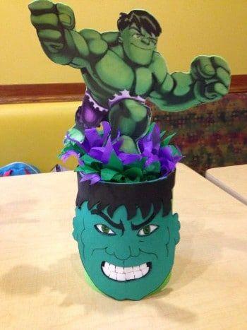centros de mesa de hulk manualidades
