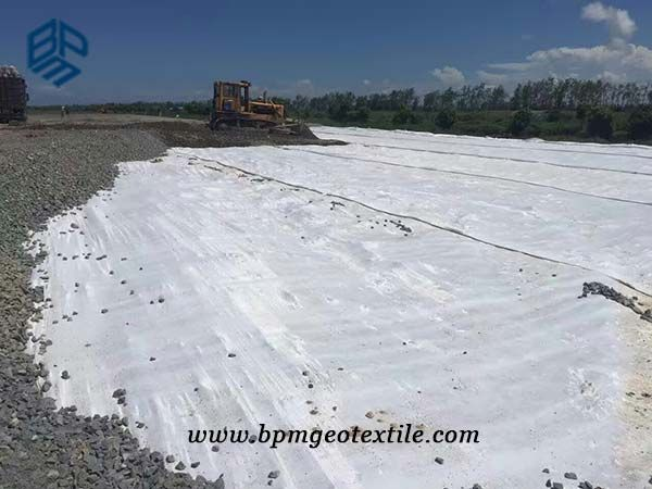 Pet woven geotextile fabric is made of pre-stressed multi