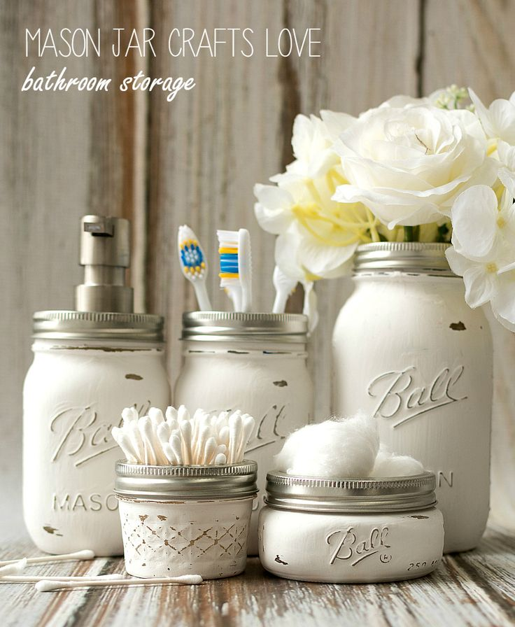 Mason Jar Bathroom Storage & Accessories | Mason Jar Crafts Love