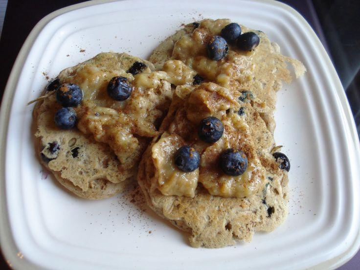 Gf/vegan blueberry oatmeal flax pancakes