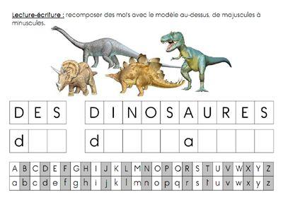 Projet dinosaures : fiche de lecture-écriture pour MS et GS, 4 niveaux disponibles en fichiers séparés + fichier étiquettes.