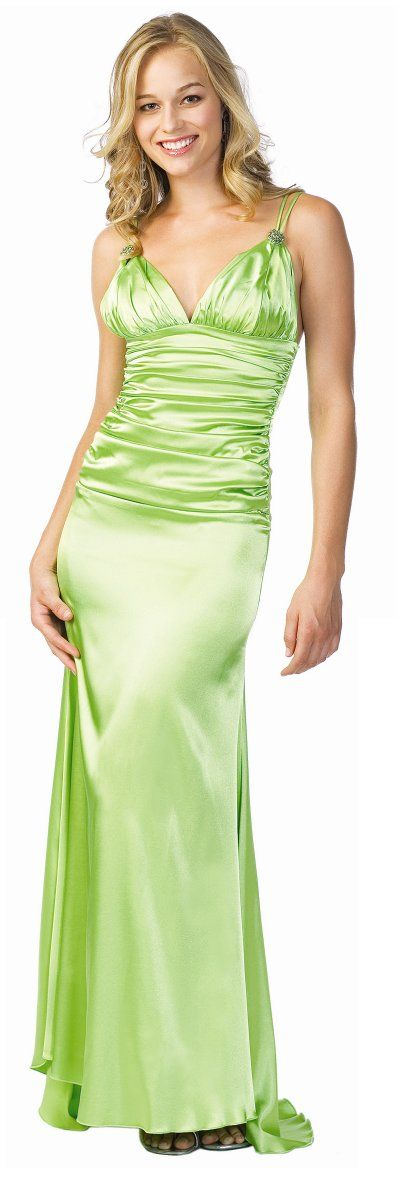 Lime Green Prom Bridesmaid Dress Formal Long Spaghetti Strap  $105.99