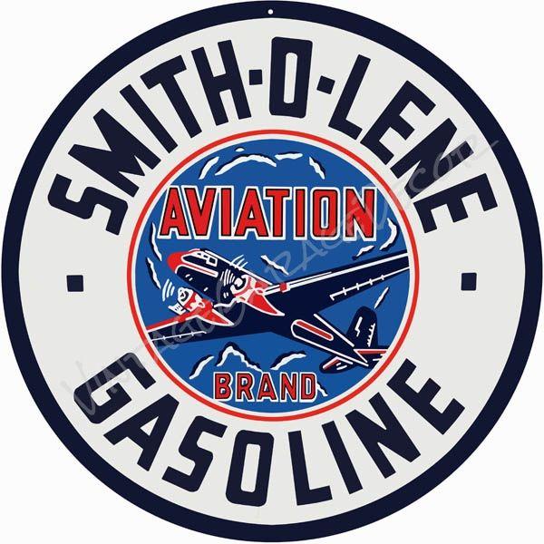 PORCELAIN COATED 18 gauge METAL SIGN SMITH-O-LENE aviation brand GASOLINE