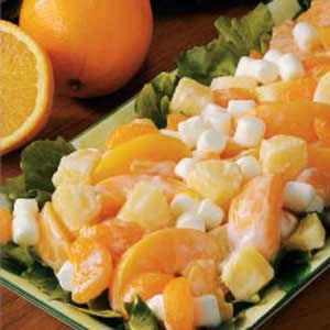 Fruit Medley Salad Recipe -Cream cheese and yogurt form the light dressing that coats this fast fruit medley. The salad is a snap to assemble because it takes advantage of canned peaches, pineapple chunks and mandarin oranges you likely keep in your pantry. Miniature marshmallow add a sweet touch. —Brittany Tyrrell Manchester, Iowa.