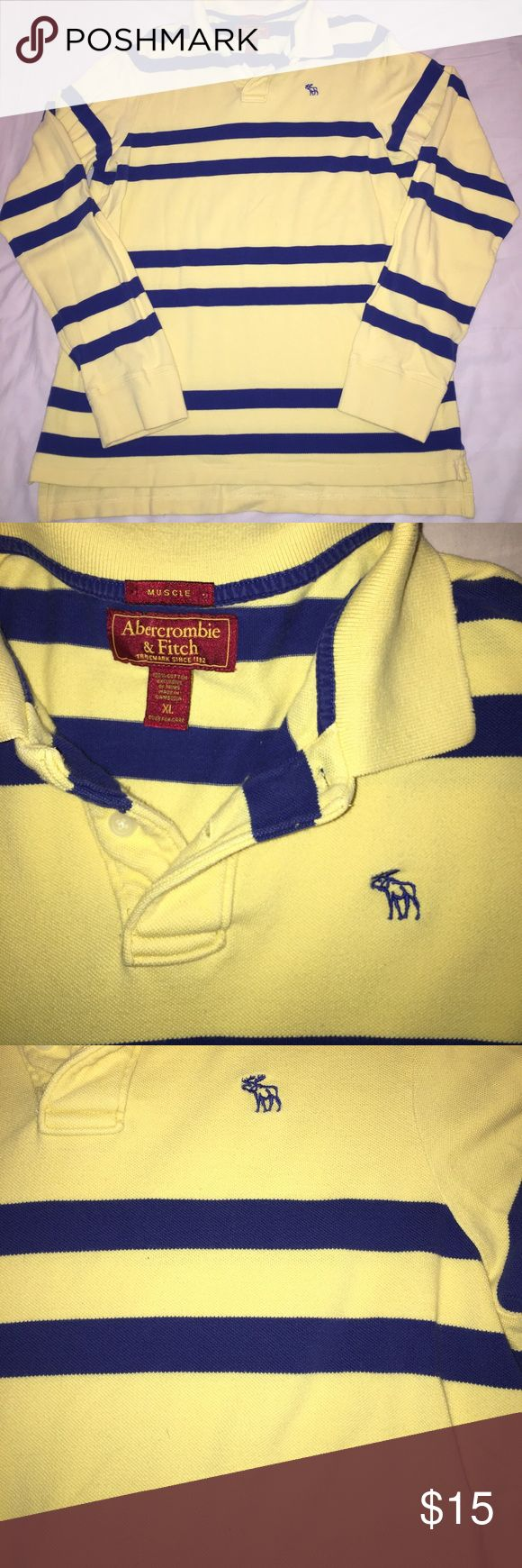 Men's Abercrombie and Fitch long sleeve polo Men's Abercrombie and Fitch long sleeve polo. Yellow and blue. XL EXTRA LARGE Abercrombie & Fitch Shirts Polos