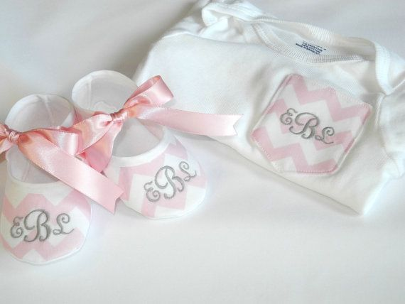 Chevron Pocket Tee - Monogrammed Baby Shoes - Chevron Pocket Onesie - Onesie and Match Shoes on Etsy, $30.95