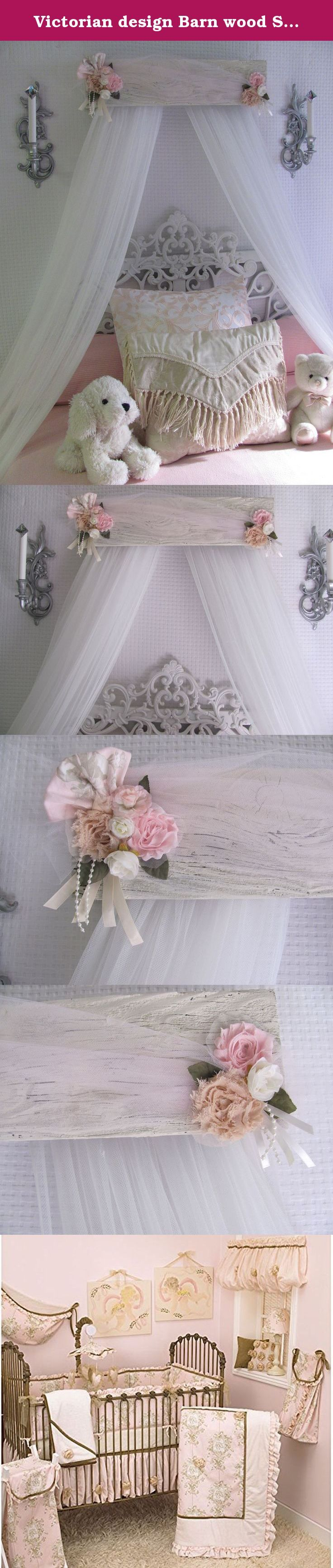 """Victorian design Barn wood Shabby Chic Bed bedroom CriB canopy rustic decor custom burlap lace pearls French Paris So Zoey Boutique SALE. Handmade wooden custom antique barn wood shabby chic bedroom canopy. Pinks tan, white, cream/ivory. We are excited to be expanding our home decor selection with rustic Shabby chic wooden creations. Made by Italian designer and woodcrafter Antonio Palella. Offered in 24"""" or 30"""" or 40"""" sizes. The canopy in the listing (shown in first photo) is 30"""" over a..."""