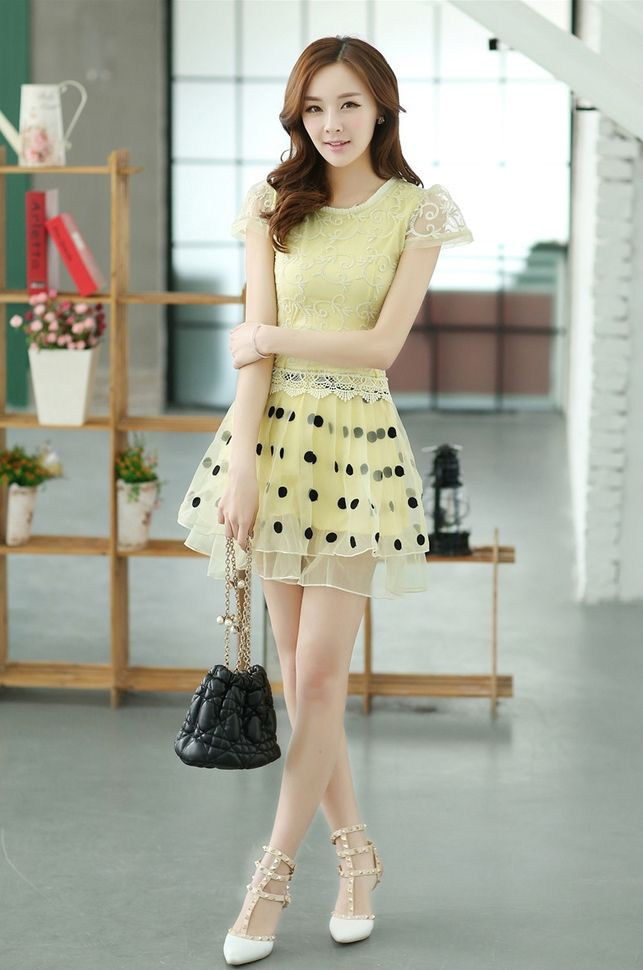 Elegant Spring embroidery mini dress Size S M L XL  Please choose size when ordering