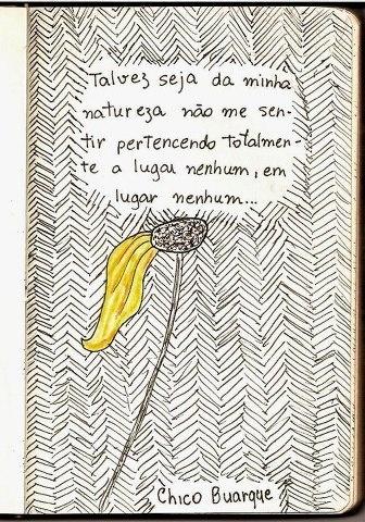 Talvez seja da minha natureza não me sentir pertencendo totalmente a lugar nenhum, em lugar nenhum... - Chico Buarque