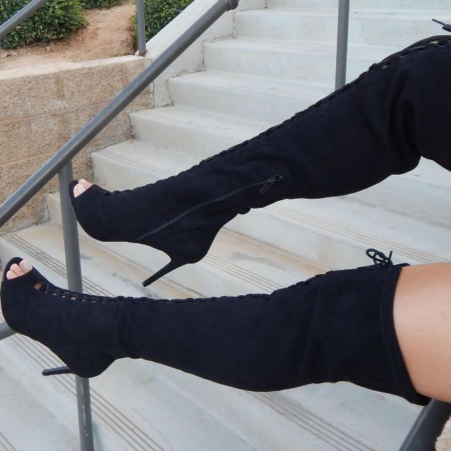 Leg Day Thigh High Lace Up Boots