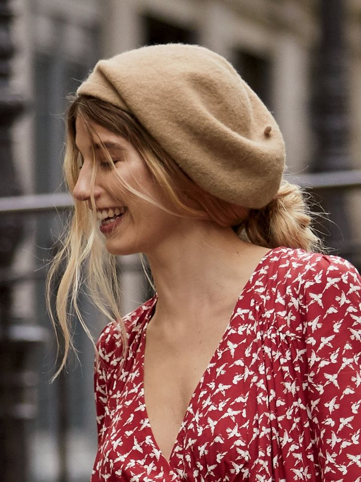 Camel Bisous Slouchy Beret at Free People Clothing Boutique