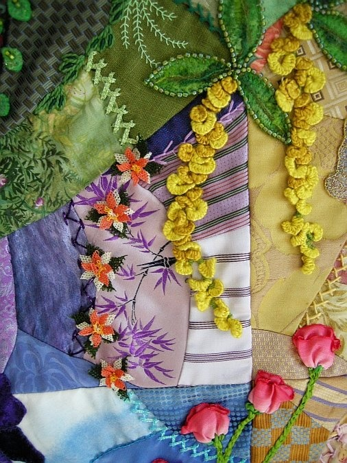 I ❤ crazy quilting & ribbon embroidery . . . Spring CQ...Ribbonwork and Oya. This line of oya is right next to the Golden Chain flowers. ~By Allie Aller of Allie's in Stitches