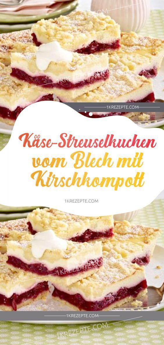 Käsekuchen mit Kirschkompott #kase # Krümelkuchen #kuchen #b …   – Kuchen