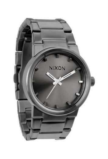 NIXON WOMENS GUNMETAL BLACK WATCH The Nixon Cannon gunmetal slate black watch is a contemporary classic. Pair this brushed charcoal watch with a chic sheepskin or Little Black Dress for the perfect completed outfit.