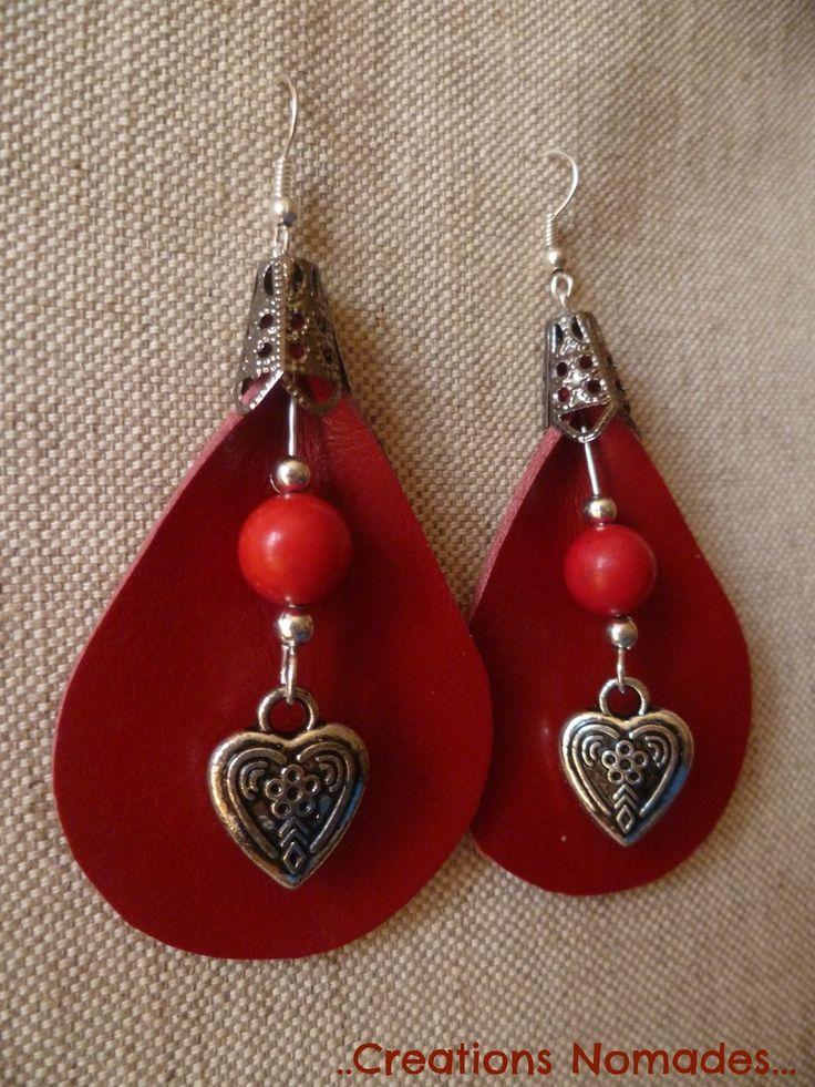 Boucles d'oreille cuir rouge et pierres fines rouge