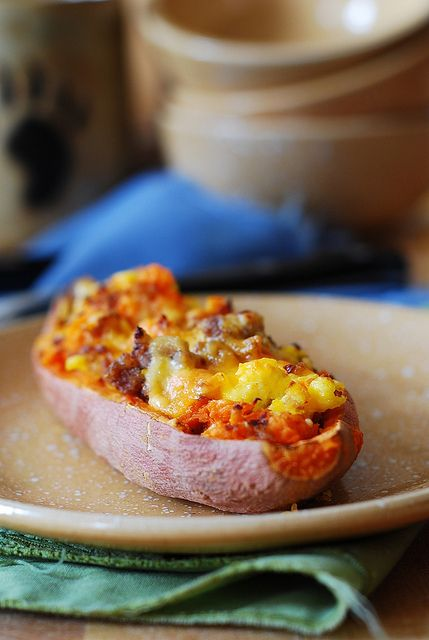 Stuffed sweet potatoes for breakfast - with sausage and eggs by JuliasAlbum, via Flickr