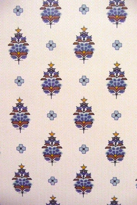 Vintage Retro Wallpaper Blue Print Wallpaper