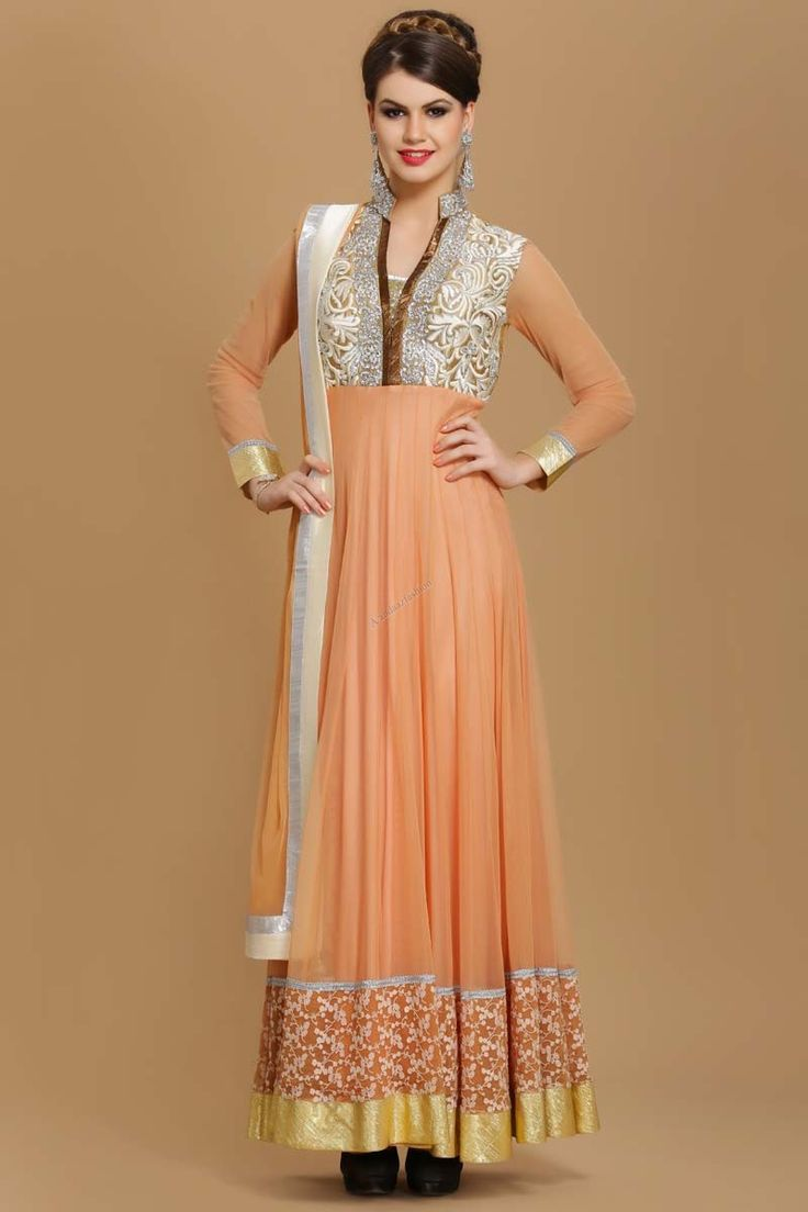 Andaaz Fashion Vision of new immigrants Designer Anarkali Churidar Suit Long Dusty Beige Polyester kameez in our online store with price RM479.00  http://www.andaazfashion.com.my/designer-dusty-beige-polyester-long-anarkali-churidar-suit.html