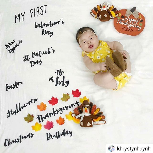 First Thanksgiving Baby Milestone Baby Milestone Ideas Baby One Month Milestone Milestone Baby Picture One Month Baby Baby Milestones Baby Milestone Photos