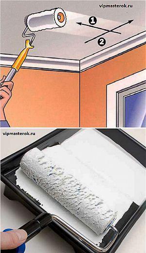 Покраска потолка водоэмульсионной краской.. | Домашний ремонт | Постила