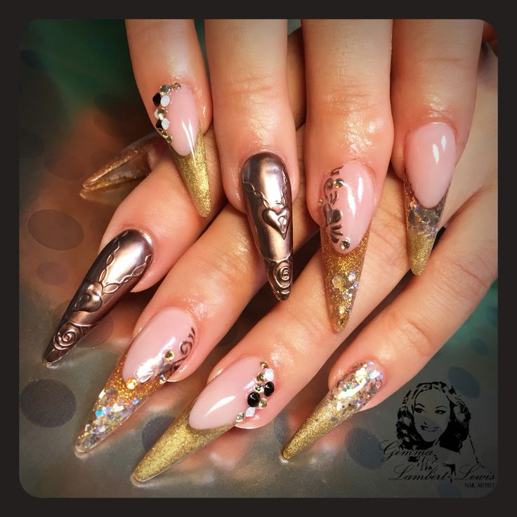 Chrome and acrylic nails