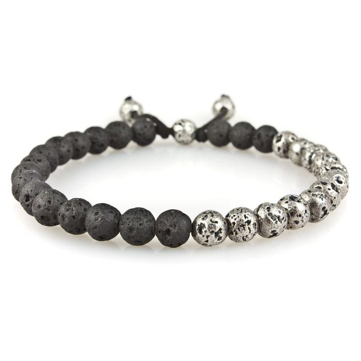 Small Mix Lava Silver Lava Stone Bead Bracelet   M. Cohen Designs